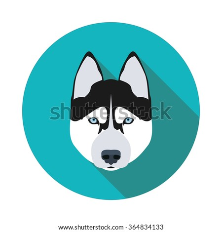 flat icons dog husky in vector format eps10 - stock vector