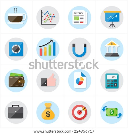 Flat Icons For Business Icons and Finance Icons Vector Illustration - stock vector