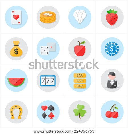 Flat Icons For Casino Icons and Game Icons Vector Illustration - stock vector