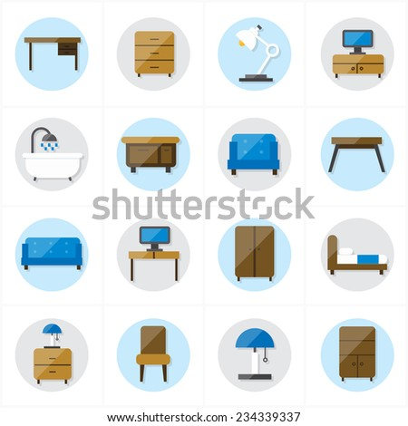 Flat Icons For Furniture Icons Vector Illustration - stock vector