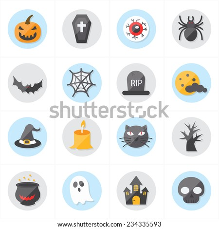 Flat Icons For Halloween Icons Vector Illustration - stock vector