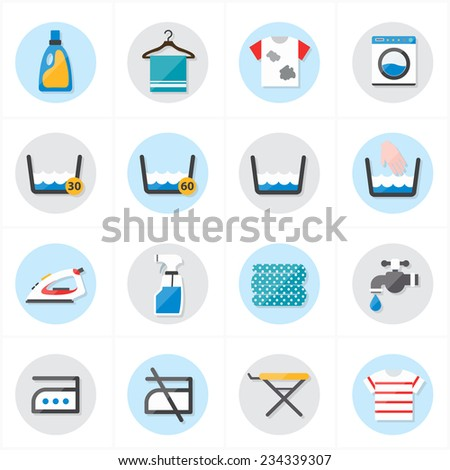 Flat Icons For Laundry and Washing Icons Vector Illustration - stock vector