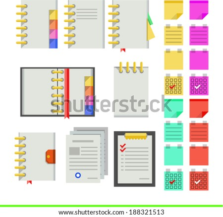 Flat icons for notebooks. Nine icons for light notebooks for business on white. - stock vector