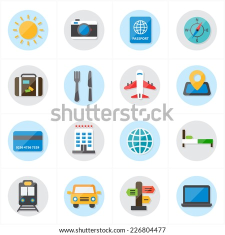Flat Icons For Travel Icons and Transport Icons Vector Illustration - stock vector