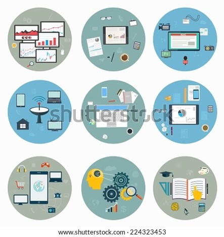 Flat icons for web and mobile, business strategy, concept mobile applications, journalism, workspace - stock vector