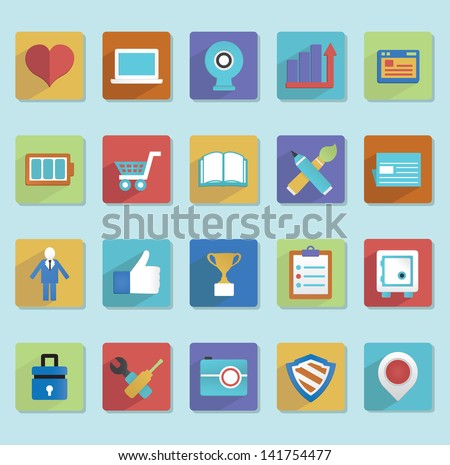 Flat icons for web design - part 2 - vector icons - stock vector