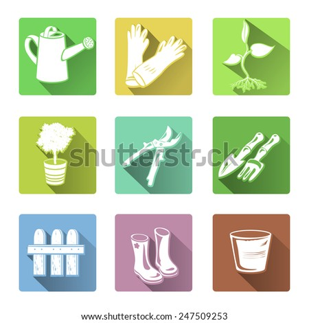 flat icons garden tools. vector illustration - stock vector