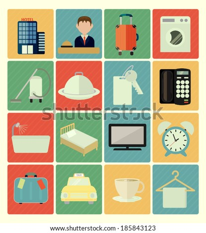 Flat icons hotel set - stock vector