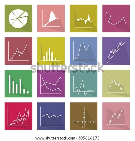Flat Icons, Illustration Set of 16 Business Graph and Chart Icon Labels. - stock vector