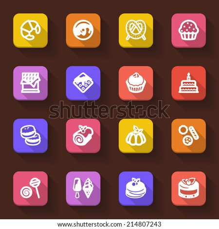 Flat icons in a square with long shadow about dessert - stock vector