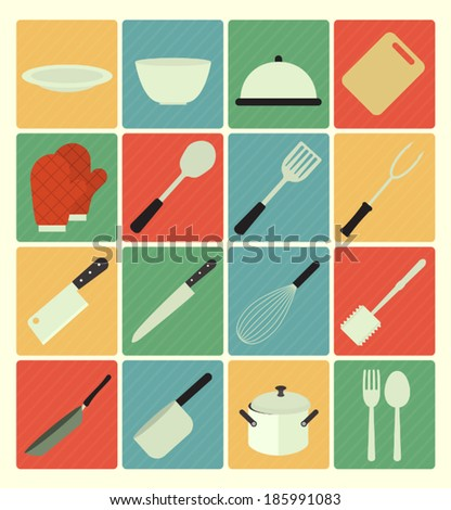 flat icons kitchen set - stock vector