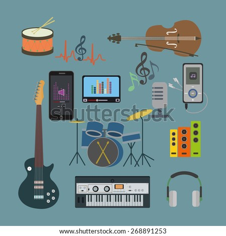 Flat icons music set.Musical instruments. Flat design - stock vector