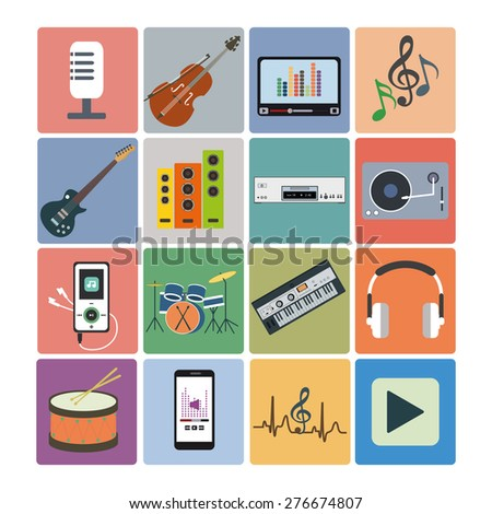 Flat icons music set. Musical instruments. Flat design - stock vector