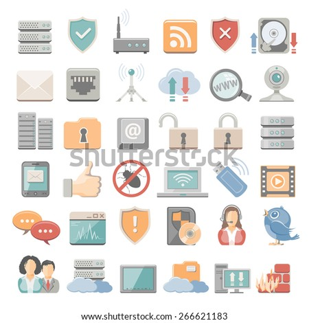 Flat Icons - network - stock vector