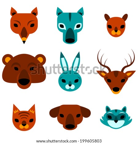 Flat icons of cute animal heads - stock vector