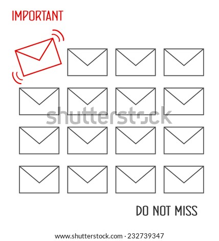Flat icons of messages with one important message isolated on white background - stock vector