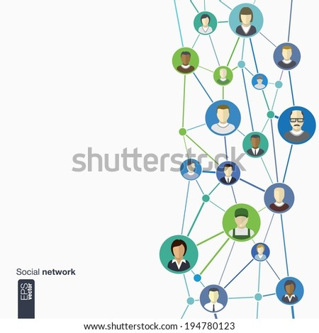 Flat icons of persons in colored circles for graphic design (vector illustration). Human avatars connected as network for web, social, management, business, internet, computer, mobile, infographics - stock vector