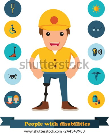 flat icons people with disabilities - stock vector