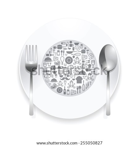 Flat Icons plate,foods concept vector illustration - stock vector