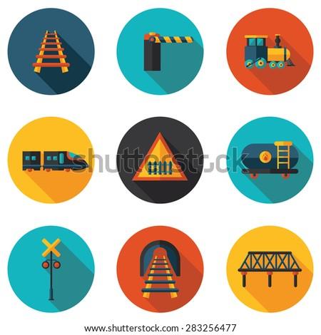 flat icons railroad - stock vector