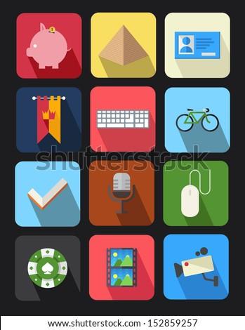flat icons set 7 - stock vector