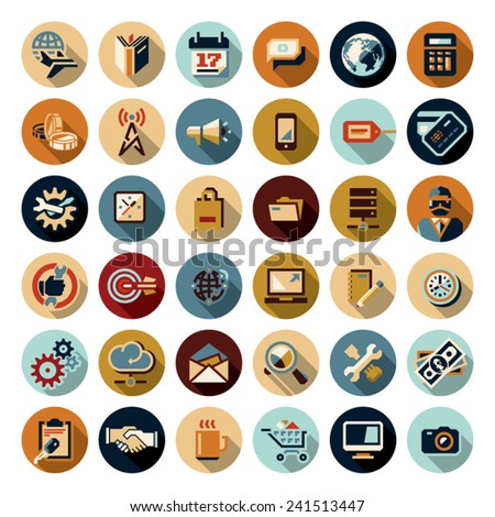 Flat icons set. Business icons. - stock vector