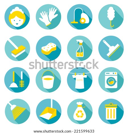 Flat icons set : Cleaning Objects - stock vector