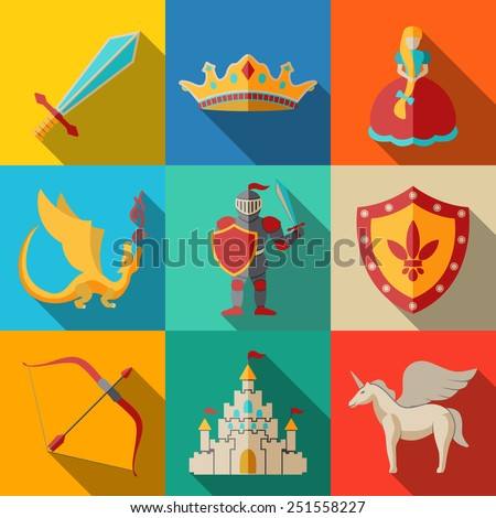 Flat icons set - fairytale (game) - sword, bow, shield, knight, dragon, princess, crown, unicorn, castle. Vector - stock vector