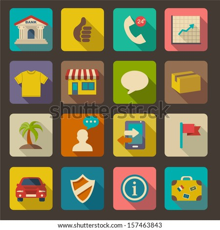 Flat icons set for Web and Mobile Applications - stock vector