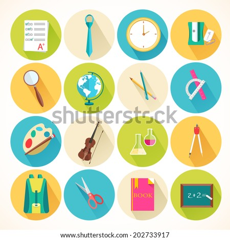 flat icons set of back to school concept. Vector illustration design - stock vector