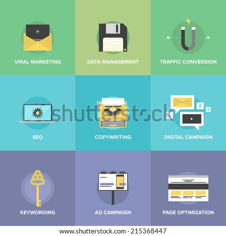 Flat icons set of digital marketing agency promotion, viral video advertising, social media campaign, seo development and website search optimization. Modern design style vector illustration concept. - stock vector