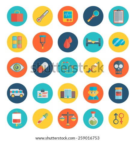Flat icons set of medical tools and healthcare equipment, science research and health treatment service. Modern design style symbol collection. - stock vector