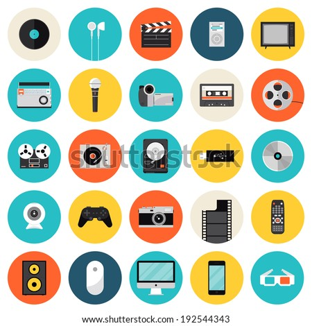 Flat icons set of multimedia and technology devices, sound instruments, audio and video items and objects. Modern design style vector symbol collection. Isolated on white background.   - stock vector