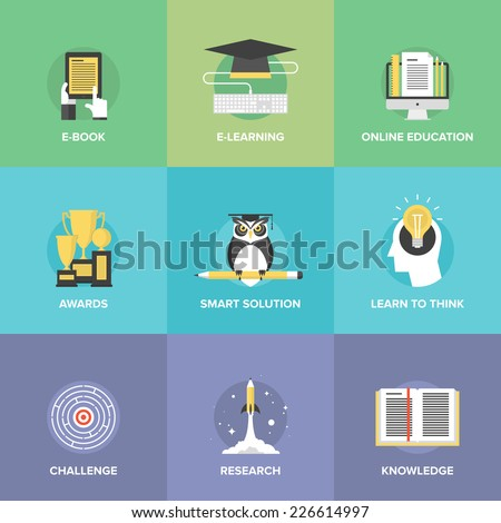 Flat icons set of online education, smart ideas and thinking symbol, electronic learning process, awards winning, knowledge and wisdom elements. Modern design style vector illustration concept. - stock vector