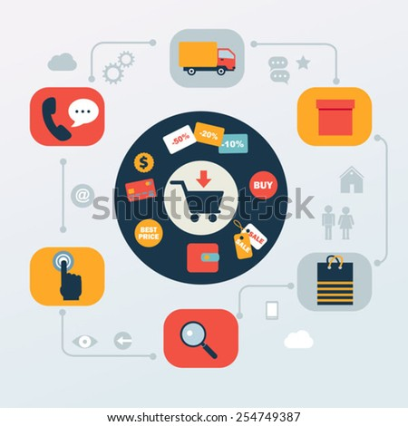 flat icons set of online shopping internet  infographic design e - stock vector