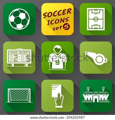 Flat icons set of soccer elements. Collection of symbols for association football. Qualitative vector (EPS-10) icons about soccer, sport game, championship, gameplay, etc - stock vector