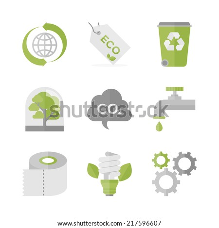 Flat icons set of waste recycling and eco material, ecology and nature conservation, green production and environment protection. Flat design style modern vector illustration concept. - stock vector