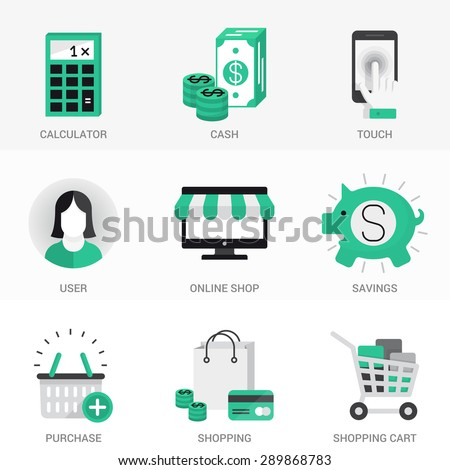 Flat  Icons Set. Purchase and sale, online shopping, cash investments and deposits. Online payments and money transfers.Isolated Objects in a Modern Style for Your Design. - stock vector