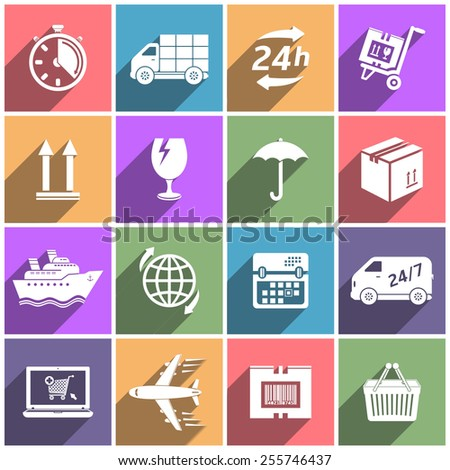 Flat icons set shipping and delivery - stock vector