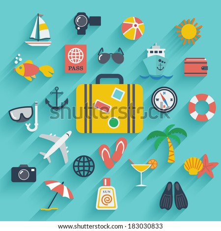Flat icons set with long shadow effect of traveling on airplane, planning a summer vacation, tourism and journey objects and passenger luggage. Eps10 - stock vector