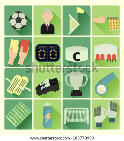 Flat icons soccer set - stock vector