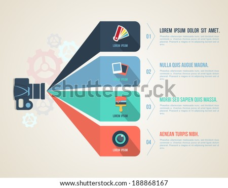 Flat icons template. Can use for business concept, Education diagram, Web design, Printing object, Brochure element, Camera learning. - stock vector