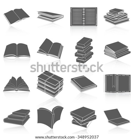 Flat icons vector collection of book set. Isolated on white background. - stock vector