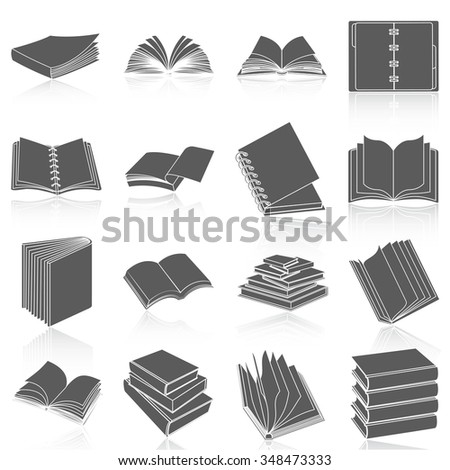 Flat icons vector collection of books set. Isolated on white background. - stock vector