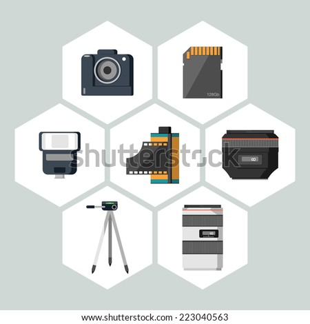 Flat icons vector collection of photography equipment. Isolated on white background. - stock vector