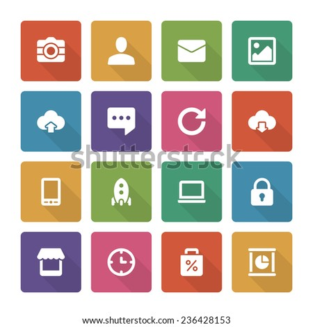 Flat icons vector set and long shadow effect for web site design, infographics, ui and mobile apps. Objects, business, office, communication and marketing items - stock vector
