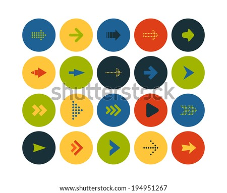 Flat icons vector set 28 - signs arrows - stock vector