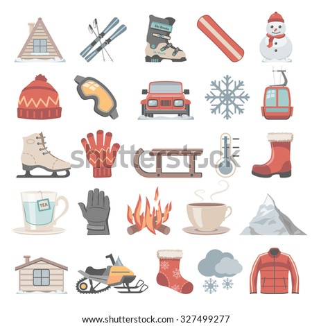 Flat Icons - Winter - stock vector