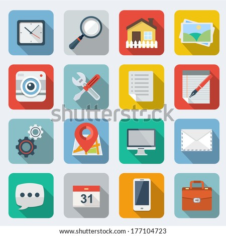 Flat Icons with long shadow  - stock vector