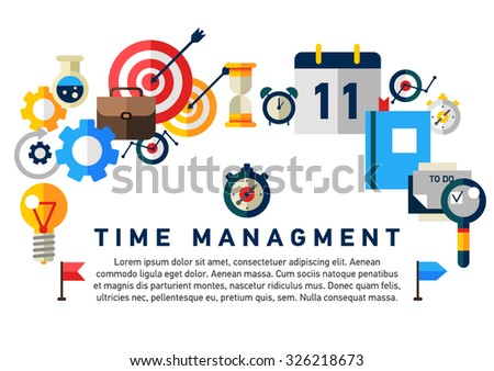 Flat illustration concept of effective businessman who plans and organizes working time, deals deadlines, achieves goals. Can used for web banners, hero images, printed materials. Management concept  - stock vector